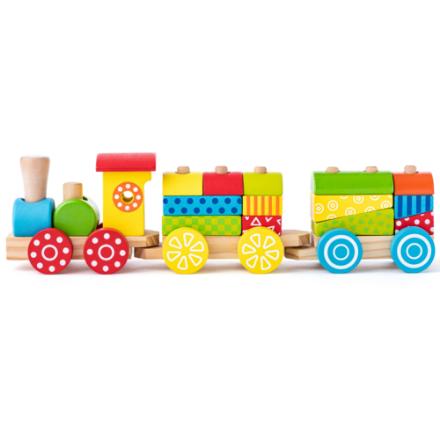 Poza cu Tren cu blocuri din lemn (17 piese)