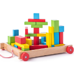 Poza cu Cărucior de tracțiune cu cuburi din lemn (34 piese)