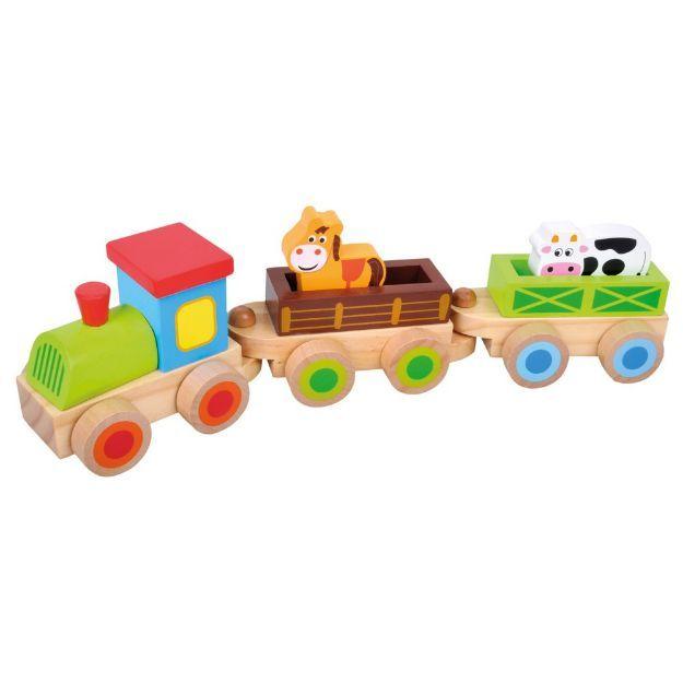 Poza cu Tren din lemn cu 2 figuri